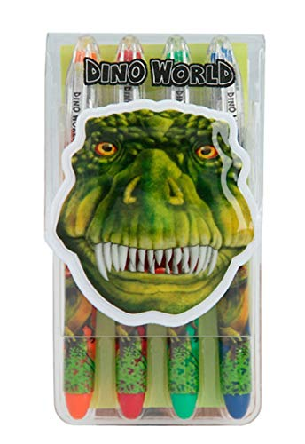 Depesche- Juego Gel Dino World, Estuche con 4 bolígrafos en Forma de Saurier, Tinta de Colores con Purpurina (4922)