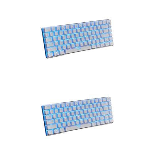Prettyia 2X AJAZZ AK33 RGB Mechanical Keyboard Mini 82 Keys Blue Black Switches Wired LED