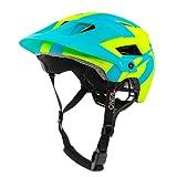 O'NEAL | Casco de Bicicleta de montaña | Enduro All-Mountain | Aberturas de ventilación para refrigeración, Almohadillas Lavables | Casco Defender Silver | Adulto | Amarillo Neón Azul | Talla L/XL