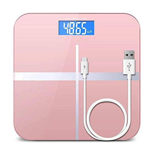 LQH Waage Personenwaage, Digitale Temperatur Badezimmer USB Ladewaage, 180Kg / 400LB Rosa