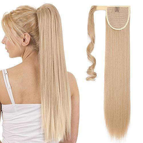 Ponytail Clip in Pferdeschwanz Extension Haarteil Haarverlängerung Zopf Hair Piece Glatt wie Echthaar Dark Blonde Mix Bleichblond Glatt-23