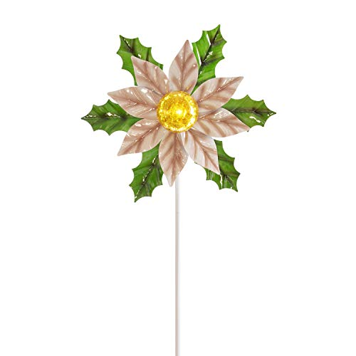 Alpine Corporation SOT889SLR Solar Christmas Poinsettia Garden Stake with LED Light Outdoor Festive Holiday Wind Spinner for Yard, Lawn, 54-Inch Tall, Multicolor