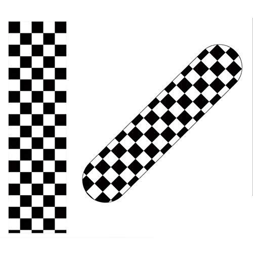 Dapang Cinta Adhesiva para Longboard (33'X 9'), diseño de Cuadros, Color Negro y Blanco