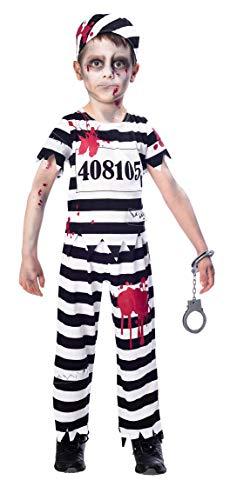 amscan- Zombie Boy Escaped Convict Costume-Age Years-1 PC Disfraz nio de 11 a 12 Unidad, Color blanco, 11-12 aos (9902660)