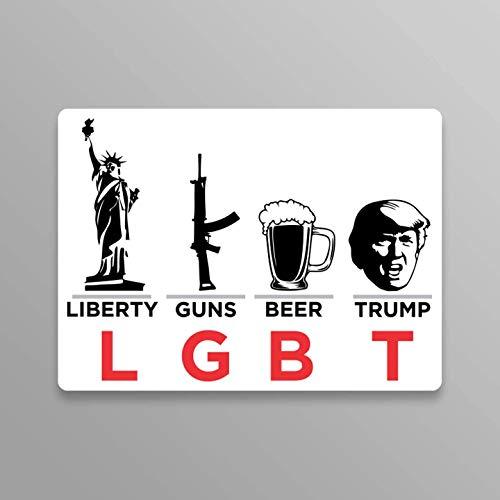JMM Industries Trump Sticker Liberty Guns Beer Trump LGBT Vinyl Decal Sticker 2-Pack 5.5-Inches Trump Pence 2020 Keep America Great Premium Quality Vinyl Sticker UV Protective Laminate PDS2041