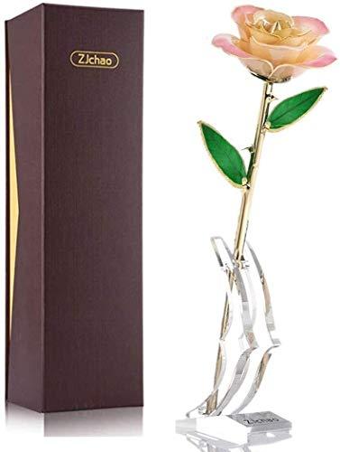 ZJchao rosa dorado, rosa blanco, rosa dorado, rosa eterna, hecha a mano, regalo para el Día de la Madre, oro rosa de 24 quilates, flor de plata de San Valentín Love Forever rosa real