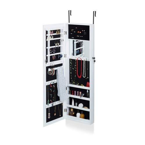 Relaxdays sieradenkast met spiegel, sieradenkast hangend voor deur, sieraden, spiegelkast, H x B x D: 120 x 36,5 x 10 cm, wit