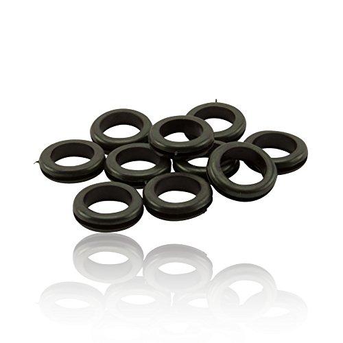 CDL Micro CDL-OCGX010 Lot de 10 passe-câbles en caoutchouc Noir 20 mm