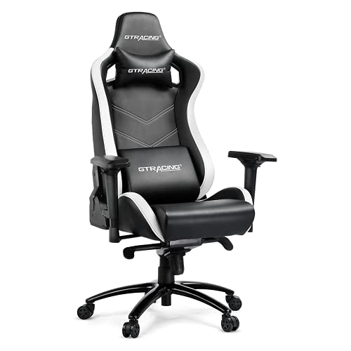 GTRACING Gaming Chair,Big and Tall Computer Chair with 4D Adjustable Armrests,Height Adjustable Recliner with Ergonomic Head Pillow and Lumbar Support for Gaming or Working(Black&White)