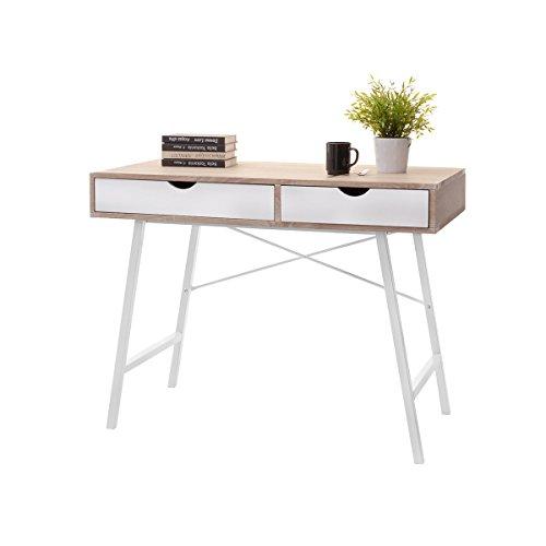 Selsey-Living Scrivania e Tavolo da Ufficio, Bianco/Rovere Sonoma, 100 x 48 x 78 cm