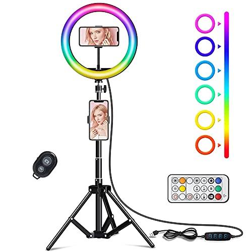 Aro de Luz LED, NTHJOYS Anillo de Luz Regulable con 168 LED 35 Modos RGB 3 Efectos de Iluminación para Fotografía,Ring Light con Trípode y Soporte para Movíl, LED Lámpara