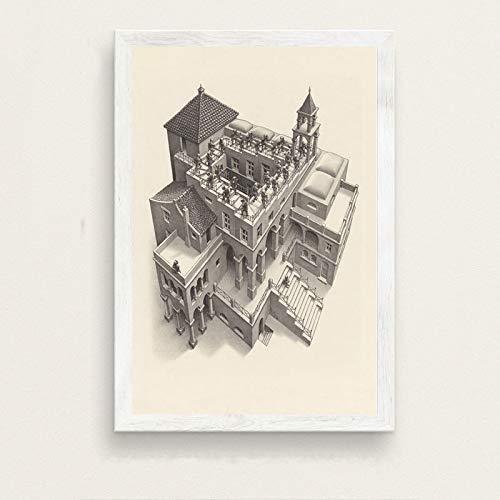 LGYJAL Escher Surrealismo geométrico Arte Abstracto Moderno Pintura en Lienzo Póster Hogar Sala de Estar Dormitorio Decoración Arte de la Pared Póster 50x70 cm B-296