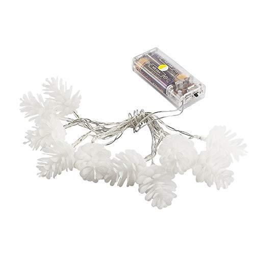 LED-Lichterkette | Tannenzapfen | 10 LED-Lichter | warmweiß | Mit Timer-Funktion (6 Stunden AN | 18 Stunden AUS)