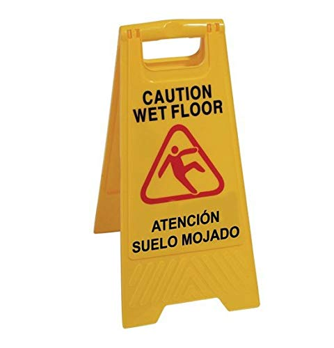 Chiner - Señal Aviso'Atencion Suelo Mojado - Caution Wet Floor'. En Español e Inglés. Alta visibilidad para evitar accidentes