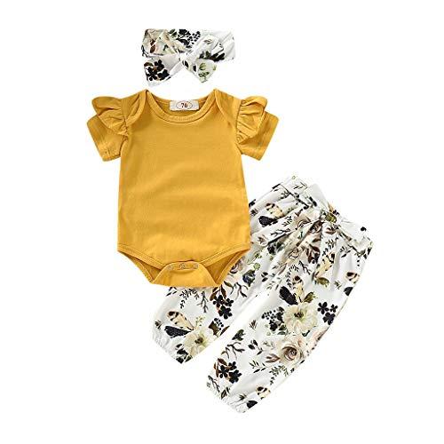 REALIKE Kinder Baby Mädchen 1 PC Jumpsuit + 1 PC Hosen + 1 PC Headbands Mode Gelb Rüschen Kurzarm -Body im Lässig Blumendruck Lange Bogen Pants Sommer 3 Set Kleidung