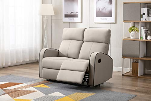 Athon furniture Taupe Leather Stylish 2 Seater Recliner Sofa