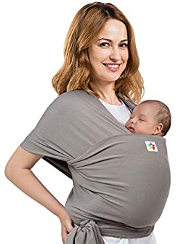 Baby Wrap Carrier - Premium Cotton - Ergonomic Wraps for Toddler Newborn Infant Child - Front Hip and Kangaroo Holder for Men and Women  Grey