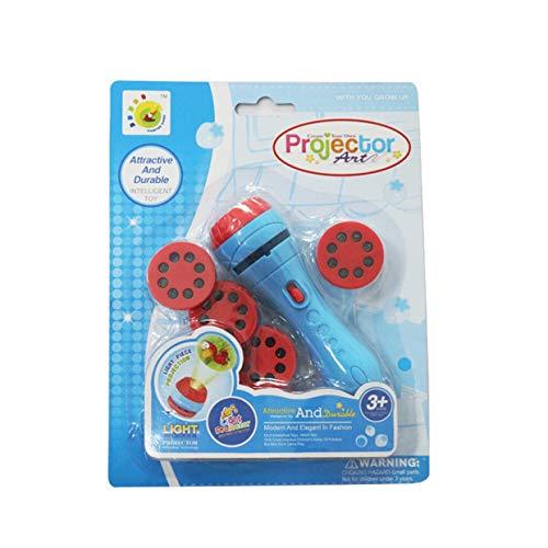 YUIO® Mini Spielzeugprojektor Folie Kindergeschichte Taschenlampe Diaprojektor Baby Schlafgeschichte Frühpädagogik Spielzeug Kind Schlaf Licht Lampe (blau)