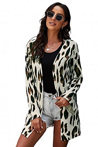 ZESICA Women's Long Sleeves Open Front Leopard Print Knitted Sweater Cardigan Coat Outwear with Pockets,A Khaki,Medium