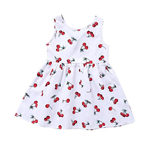 LEXUPE Kleinkind Kind Baby Mädchen Sommer Ärmellose Schleife Frenulum Druck Prinzessin Kleid(F-Weiß,170)