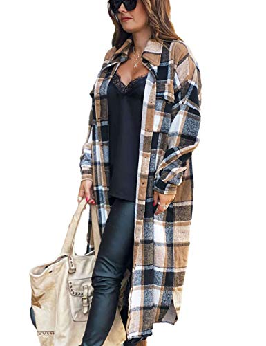 Himosyber Women's Casual Plaid Lapel Woolen Button Up Pocketed Long Shacket Coat(Brown-L)