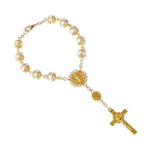 GuDeKe 8mm cordón Perla de Imitacion Pulsera de Rosario Cruz de aleación Pulsera Virgen María Jesús Religioso Cristianismo Pulsera católica de Rosario Corto (Dorado)