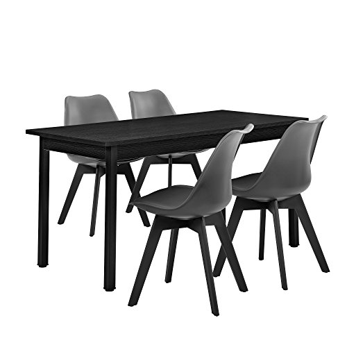 [en.casa] Esstisch schwarz 140cm x 60cm mit 4 Stühlen grau