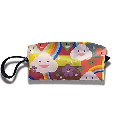 Bbhappiness Pouch Handbag Cosmetics Bag Case Purse Travel & Home Portable Make-up Receive Bag Rainbow Pattern