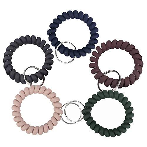 Pack de 5 pulseras de plástico con diseño de llavero en espiral flexible