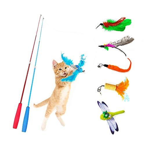 Heiqlay Katzenangel Spielzeug Katzen Angeln Set Katzenspielzeug Feder Katze Teaser Zauberstab Federspielzeug Plüschspielzeug Katzen Angel Interaktives Spielzeug für Katzen, Kätzchen (8 Stück)