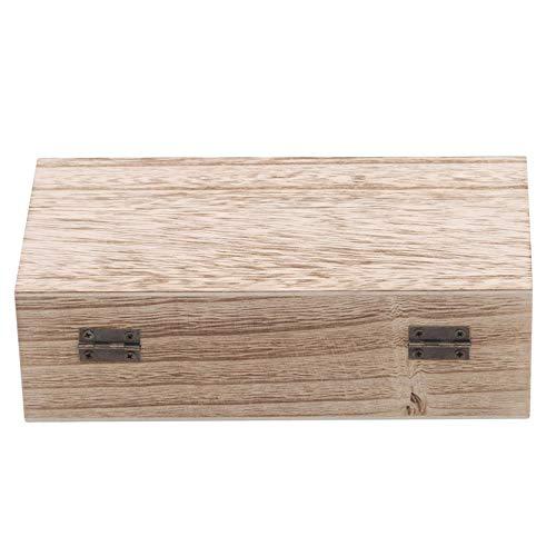 MAJFK Caja de recuerdos de madera con bisagras de madera, caja de almacenamiento de joyería de madera, caja de regalo de madera, caja de regalo de escritorio, caja retro, luz quemada