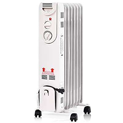 TANGKULA 1500W Oil-Filled Heater, Portable Radiator Heater with Adjustable Thermostat, Tip Over & Overheating Protection, Electric Oil Heater for Home and Office, Space Heater