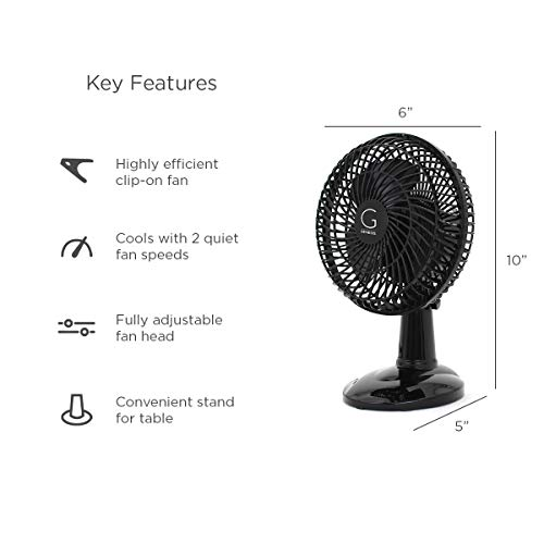 Genesis 6-Inch Clip Convertible Table-Top & Clip Fan, Two Quiet Speeds - Ideal For The Home, Office, Dorm, More, Black