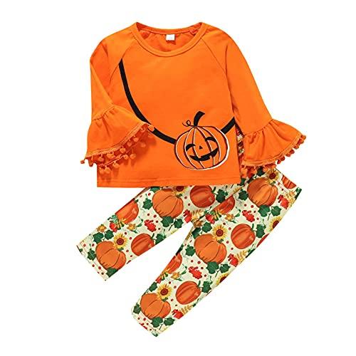 BIBOKAOKE Baby Kleinkinder Kleidung Set Flare-Ärmel Oberteil Kürbisdruckhose Zweiteiliges Set Neugeborene Kleinkinder Babykleidung Outfits Set Halloween Festliche Kleidung