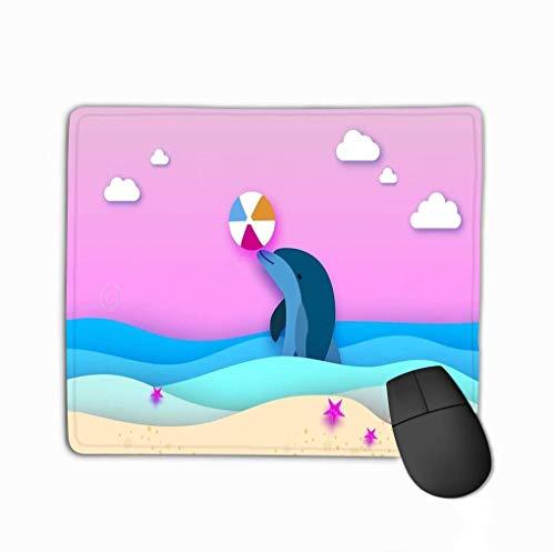 NA Rectángulo Alfombrilla de Goma Antideslizante Delfín Pelota de Playa Mar Papel Cortado Estilo Origami Capas Hermoso Paisaje Marino Cielo Hawaii Océano Pacífico Paisaje de Vida Silvestre