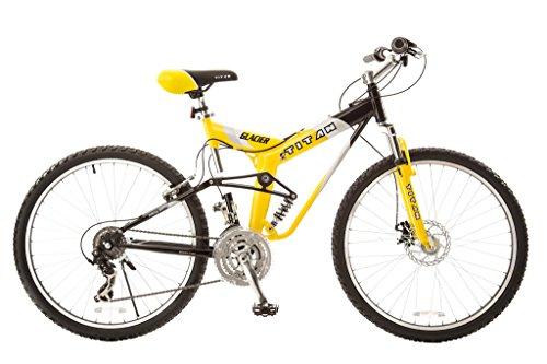 Titan #135 Glacier PRO Alloy Dual Suspension All Terrain 21-Speed 19-Inch Frame Mountain Bike, Yellow/Black, Large