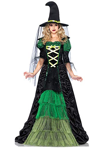 Leg Avenue 2 Piece Storybook Witch - Full Length Ruched Glitter Dress With Matching Hat For Women, black Green, Medium Large
