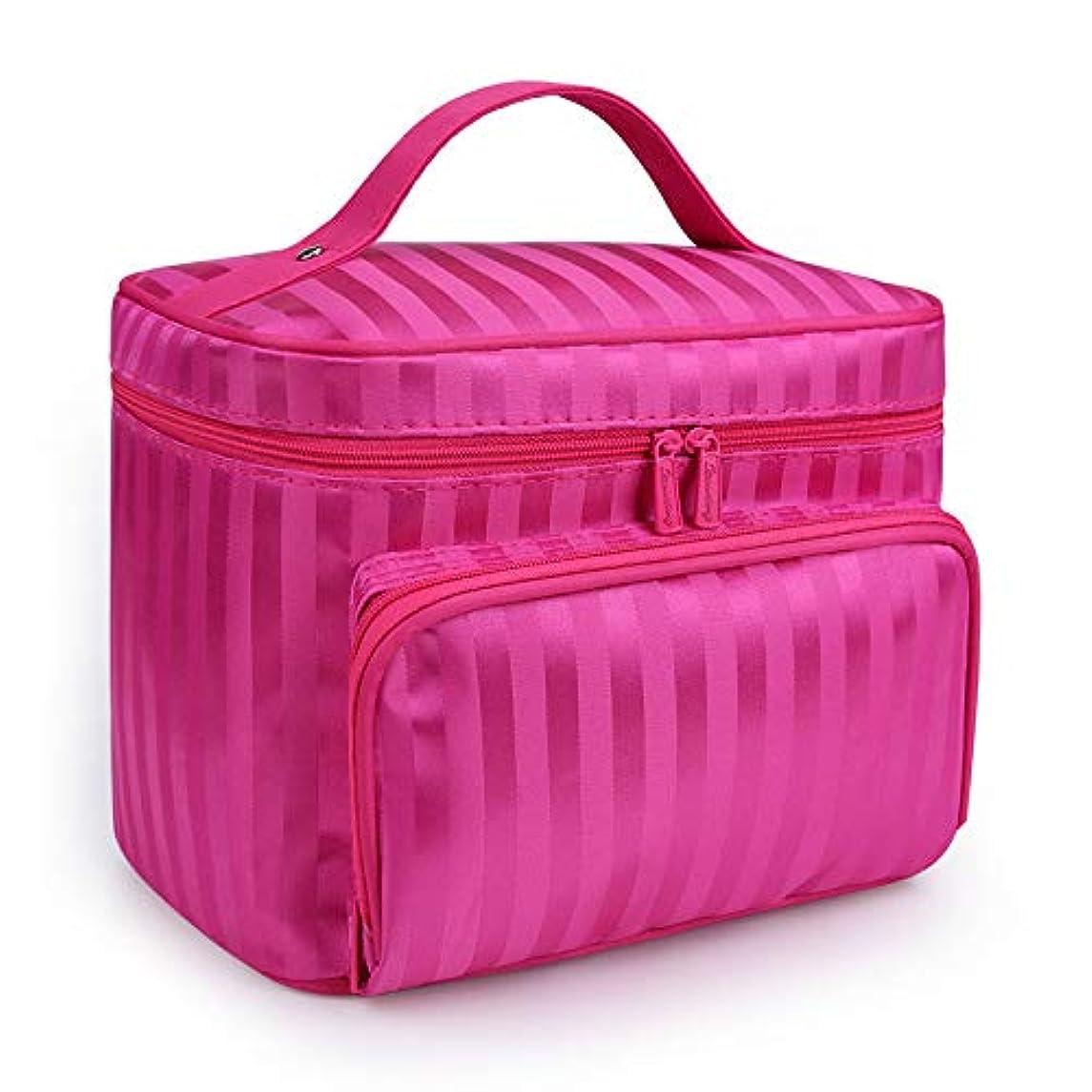 応用予見する記録化粧品袋 女性化粧品袋ストライプパターンオーガナイザー化粧バッグ??旅行トイレタリーバッグ大容量ストレージ美容バッグ