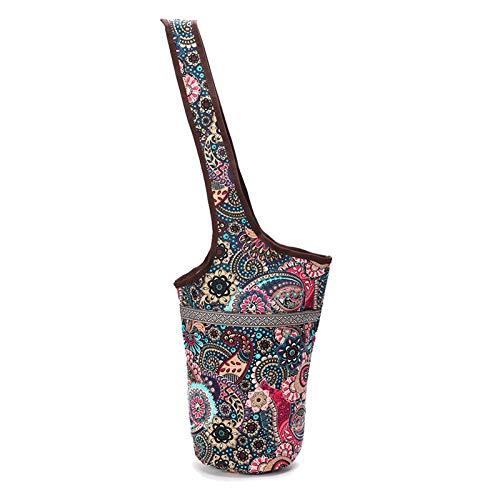 XITANG - Bolsa de esterilla de yoga, esterilla de yoga de tela plegable mate, bolsa de hombro de transporte con bolsa de cremallera para el móvil
