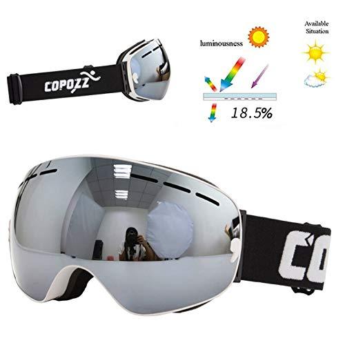 N\A Gafas de Snowboard de esquí Copozz Brand Professional Ski Goggles Capas Doble Capas Lente Anti-Fog UV400 Gafas de esquí Grandes Esquí Snowboard Hombres Mujeres Snow Gafas (Color : White Silver)