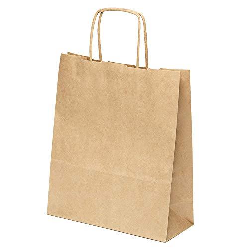 kgpack 25 STK. Papiertaschen klein mit Henkel 20 x 24 x 8 cm DIY Adventskalender Papiertüte | Taschen für Partyartikel | Taschen mit Seilgriff | Papiertüten für Lebensmittel und Süßigkeiten