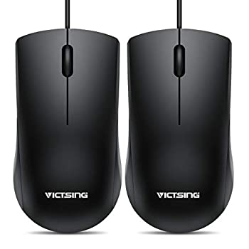 VicTsing Wired Mouse 3-Button Ergonomic Computer Mouse for Right or Left Hand 2 Pack Corded USB Mouse for PC Computer Laptop Desktop Chromebook Notebook Mac  Black