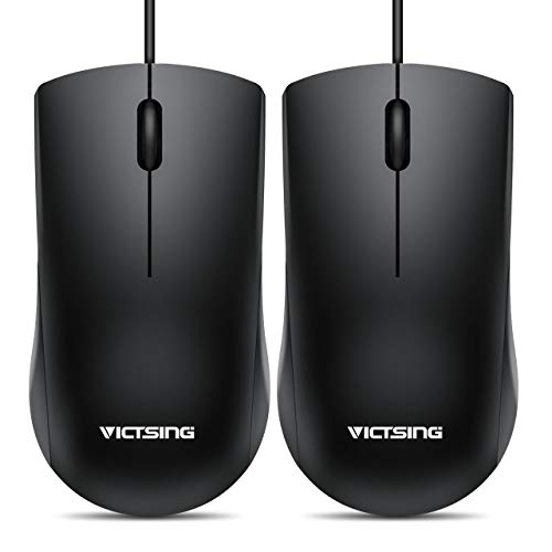 VicTsing Wired Mouse, 3-Button Ergonomic Computer Mouse for Right or Left Hand, 2 Pack Corded Mouse with Durable Clicks for PC, Computer, Laptop, Desktop, Chromebook, Notebook, Mac (Black)