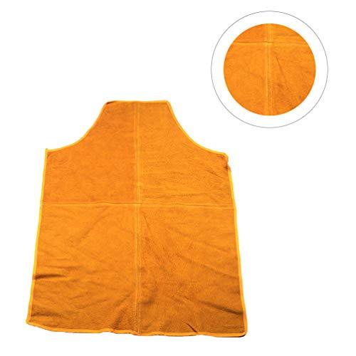 Yardwe Lederschweißschürze Rindsleder Hitzebeständige Lätzchenschürze Schweißer Arbeitskleidung Verbrühschutzschürze für Den Hausgartenladen Orange Größe L