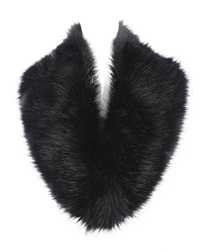 Saferin Cuello Mujer Bufanda de Piel de Zorro Sintética (SFO02 Negro)