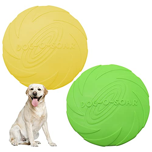 ToKinCen Frisbees para perros, 2 unidades, disco para perros, juguete para perros, goma frisbee, para tierra y agua, entrenamiento de perros, lanzar, atrapar y jugar