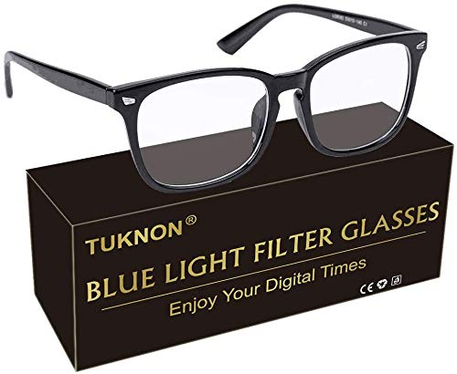 Blue Light Blocking Glasses, Computer Glasses, Gaming Glasses, Blue Light Filter Glasses, PC Glasses for TV Tablet Smartphone Screen, Anti Glare Anti Eye Fatigue, Unisex (Black)