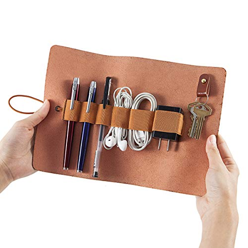 Leather Cord Organizer Wrap Holder - Cable Leather Wrap Roll Holder for Chargers, Earphones, Pen, Cord, Brush, Key and Other Small Accessories - Storage Roll Bag Sleeve Keys Holder for Men and Women