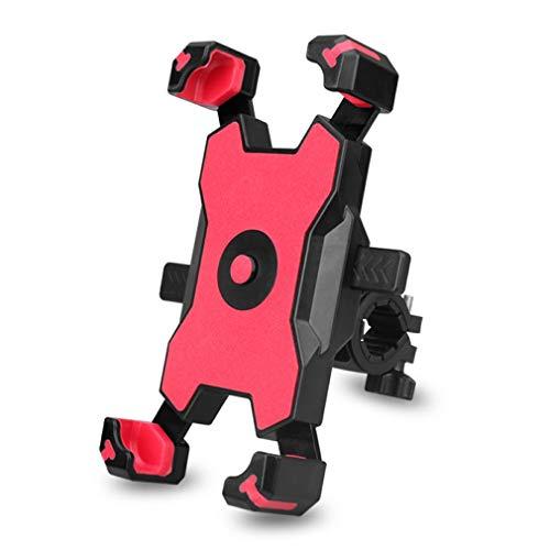 Soporte MóVil Coche Bicicleta Titular de teléfono móvil Tipo de manillar Plástico 360 grados Gorra de bicicleta eléctrica Bicicleta de motocicleta Soporte Porta Movil Coche (Color : Red)