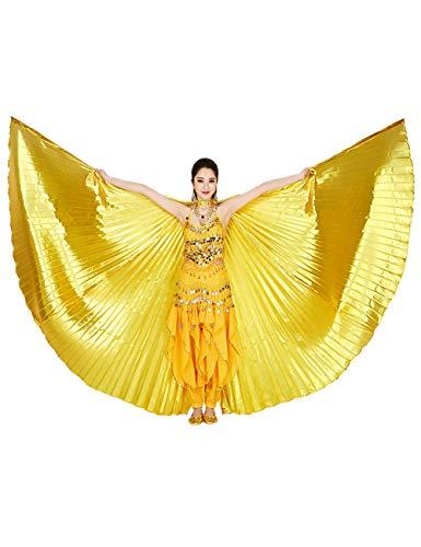besbomig Damen Bauchtanz Tanz Schleier Flügel Einschließlich Teleskopisch Stöcke/Ruten - 360 Degree Ägypten Indian Tanzen Kostüm Flügel Darstellende Zubehör